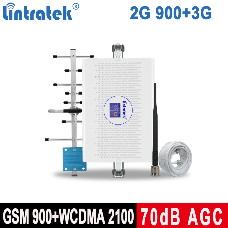 Lintratek 900 2100 Cell Phone Signal Booster GSM 2G 3G WCDMA 2100 Mobile Phone Repeater UMTS 2G Band 1 Internet Amplifier KW23C
