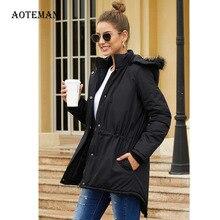 Зимнее весеннее Женское пальто, повседневные куртки с капюшоном и воротником из искусственного меха, Женская плотная теплая верхняя одежда больших размеров на молнии, парки 3XL