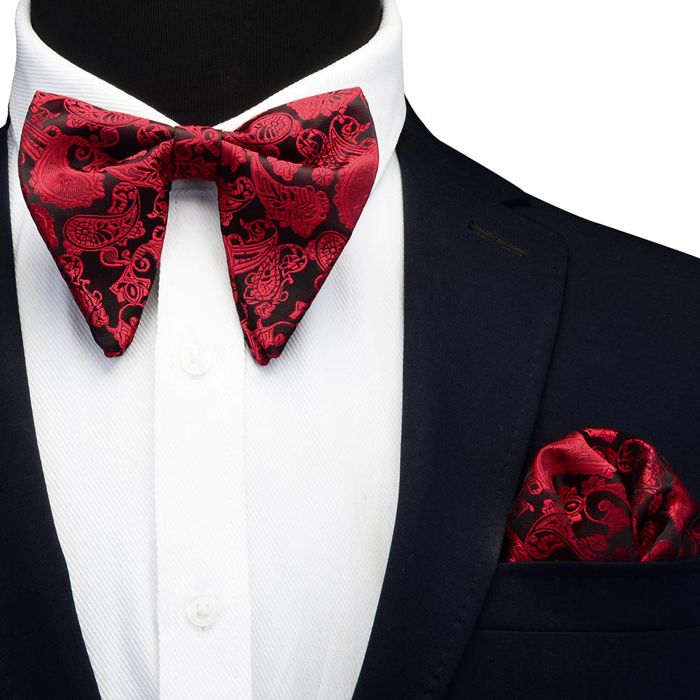 Ricnais Silk Big Bow Tie Set For Men Red White Paisley Pocket Square Bowtie Suit Mens  Business Wedding Hankerchief Ties Gifts