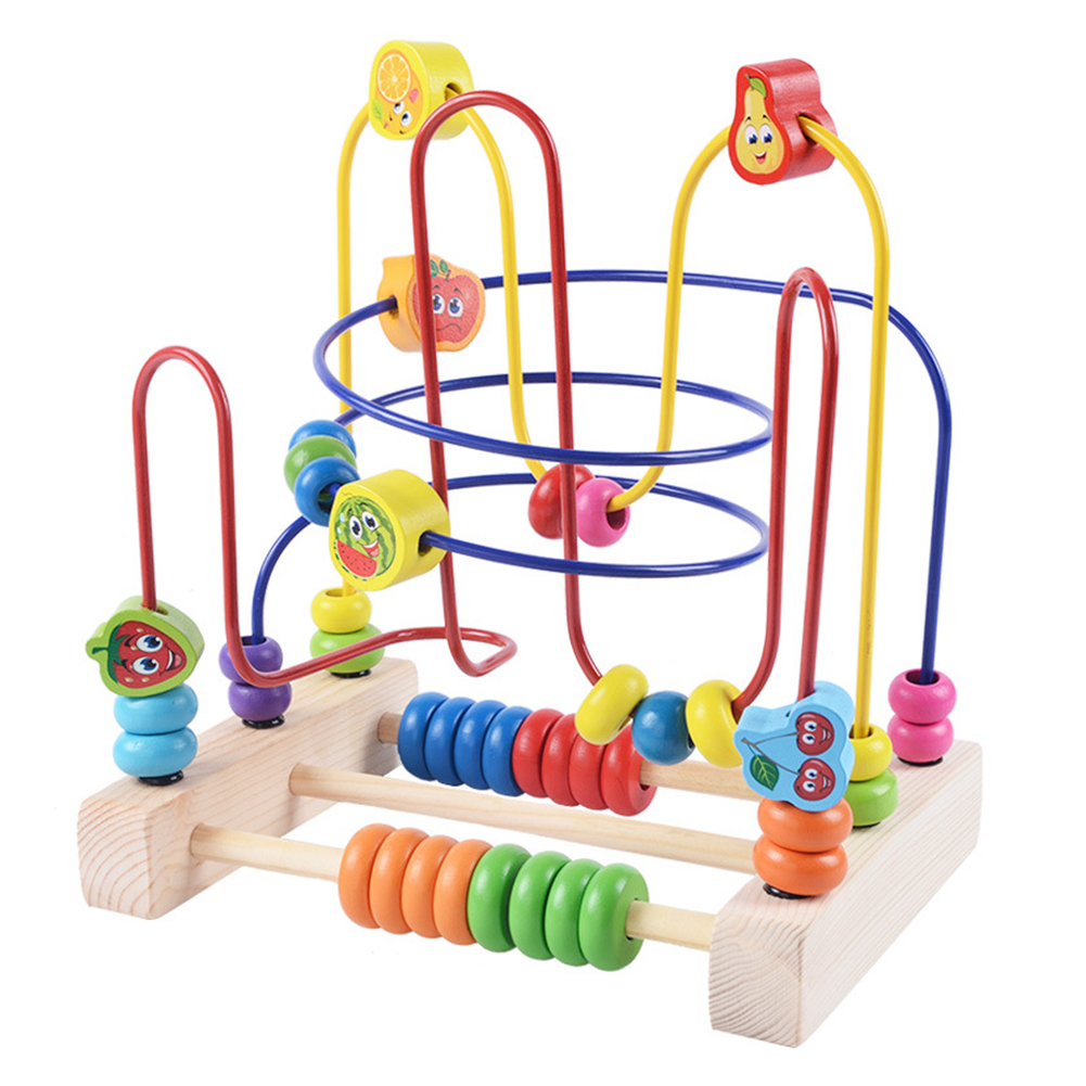 Beads Maze Children Baby Fruit Skills Math Animal Wooden Toys Childhood Learning Assembling Early Education Kids Gift Colorful