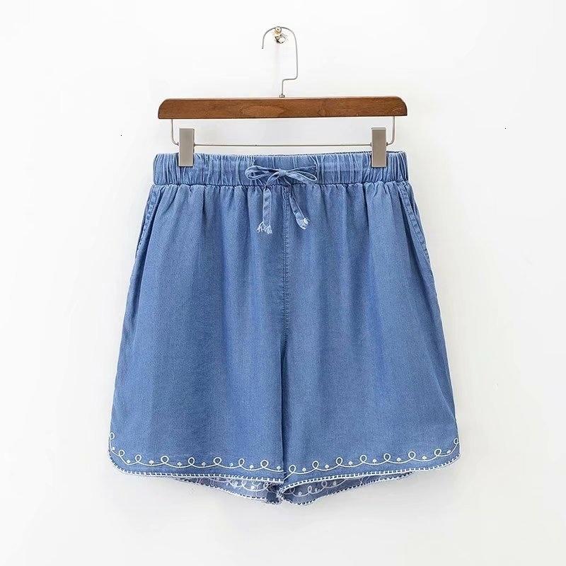 Plus Size XL -4XL Light Denim Shorts Elastic Tail Flowers Boron Shorts Women's Summer Sports Clothing