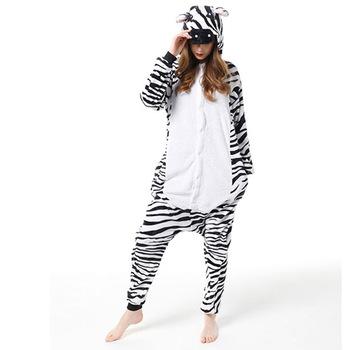 Świąteczna dorosła Zebra Kigurumis Cosplay z kapturem jednoczęściowa piżama Onesis kostium flanelowa odzież XL tanie i dobre opinie imlomi Kombinezony i pajacyki anime Unisex Dla dorosłych Zestawy Chidori Animal Poliester Kostiumy