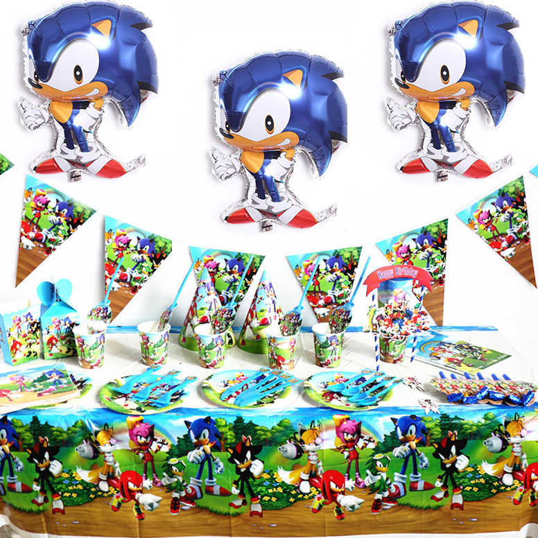 Sonic Thema Verjaardagsfeestje Decoratie Sonic The Hedgehog Feestartikelen Voor Kid Papier Cup Sonic Ballon Cartoon Party Servies