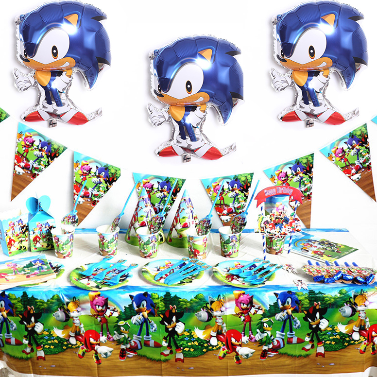 Sonic Theme Birthday Party Decoration Sonic The Hedgehog Party Supplies For Kid Paper Cup Sonic Balloon Cartoon Party Tableware Disposable Party Tableware Aliexpress