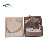 Pendrive de madera de arce con forma de corazón, unidad Flash USB 3,0, 64GB, 32GB, 16GB, 8GB, regalo de boda, más de 10 Uds.