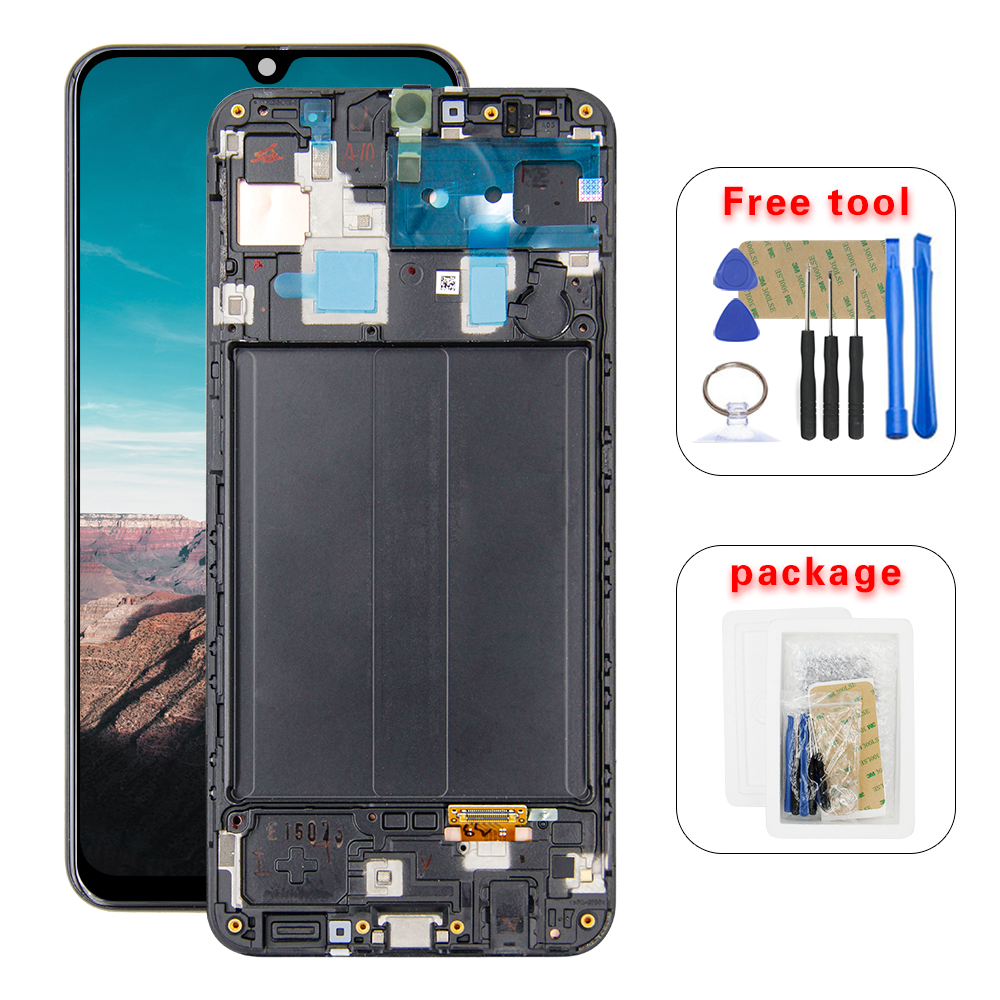 100% Tested For <font><b>SAMSUNG</b></font> Galaxy <font><b>A30</b></font> A305 A305F A305DS SM-A305FN/DS <font><b>LCD</b></font> Display Digitizer Touch Screen Assembly + Frame image
