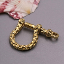 1 x Solid brass D bow shackle key chain ring Fob clip connecting hook Leather craft DIY accessories