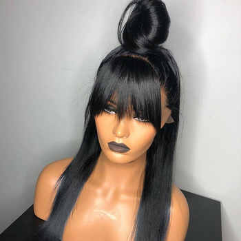 360 Lace Frontal Wig With Bangs Pre Plucked 250 Density 13x6 Lace Front Human Hair Wigs Fake Scalp Wig Straight Remy Ever Beauty - DISCOUNT ITEM  40% OFF All Category