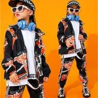 Kid leistung Hip Hop Outfits Druck Jacke Top Mantel Casual Hosen für Mädchen Junge Jazz Dance Kostüm Kleidung Straße Tragen
