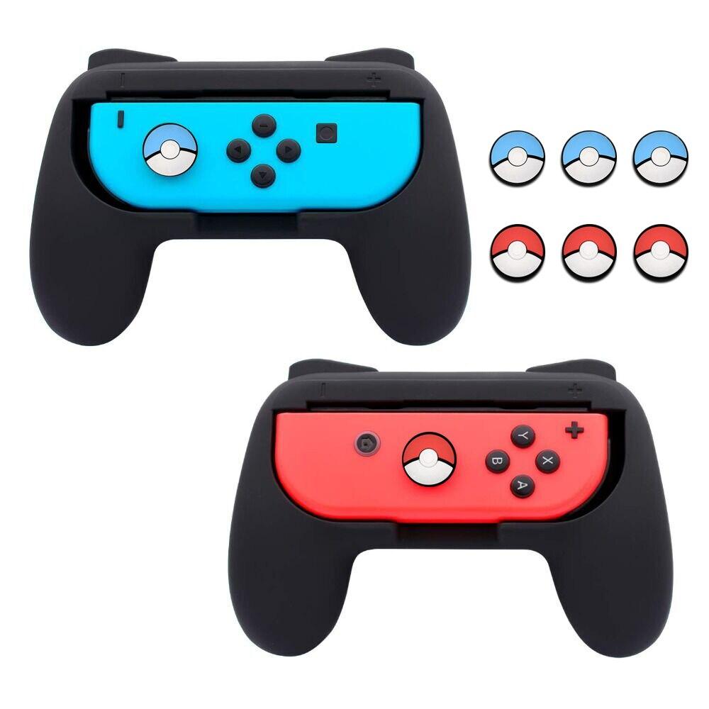 Griff Griffe kompatibel mit Nintend Schalter Freude Nachteile mit 6 Thumb-Sticks Caps, Tragen-beständig Griff, 2 Pack