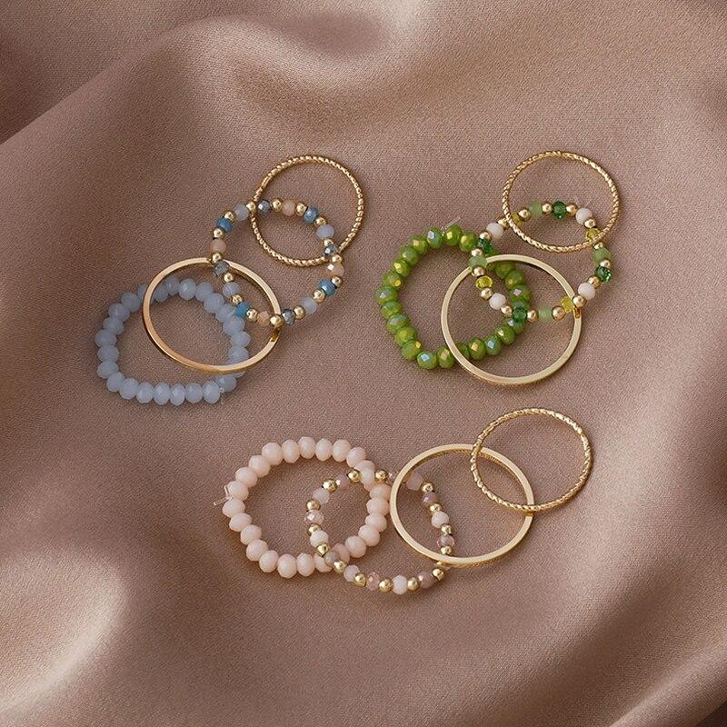4PCS Women's Ring Summer Crystal Beaded Vintage Rings Set New Korean Women Jewelry Temperament Accessories Sweet Aesthetic Gift