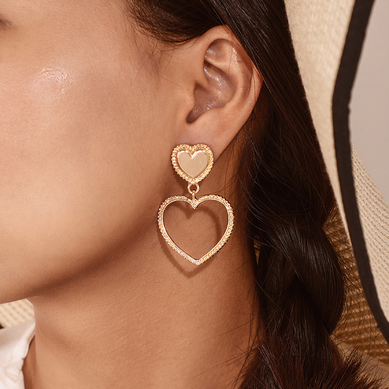 Ailodo Fashion Hollow Heart Shaped Earrings For Women Gold Color Dangle Earrings Heart Party Wedding Jewelry Girls Gift 20JAN39