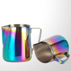 Kolor Pull CupNew Style Multicolor dzbanek do spieniania mleka kafiatera do espresso narzędzia baristy kawa Latte dzbanek na mleko ze stali nierdzewnej w Dzbanki na mleko od Dom i ogród na