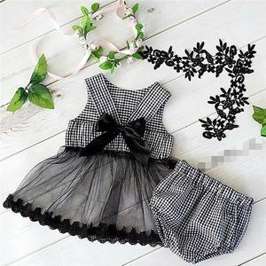 Image 1 - 2020 ins Baby Girls Princess Black Color Bow Plaid Clothes Set Top And PP Pants Wholesale