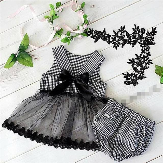 2020 ins Baby Girls Princess Black Color Bow Plaid Clothes Set Top And PP Pants Wholesale