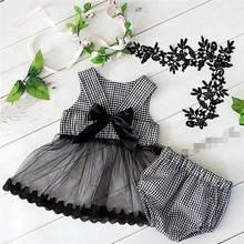 2020 ins 아기 소녀 공주 블랙 컬러 활 격자 무늬 옷 세트 상단과 PP 바지 도매