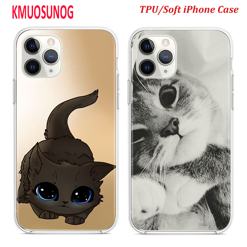 Silicone TPU Cover for <font><b>iPhone</b></font> 11 11Pro XS MAX XR X <font><b>Kawaii</b></font> <font><b>Cute</b></font> Cat for <font><b>iPhone</b></font> 8 7 6S 6 Plus 5S Phone <font><b>Case</b></font> image
