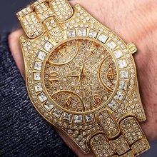 MISSFOX Fashion Diamond Watch For Men Baguette Diamond Bezel Luxury Men's Wristw