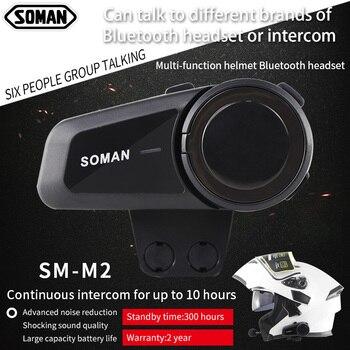 SOMAN SM-M2 1000m Bluetooth Intercom for 6 Riders Pairing Motorcycle Helmet Bluetooth Headset Wireless Mobile Phone MP3 GPS