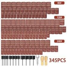 345 шт набор втулок для наждачной бумаги резиновые 2 оправки