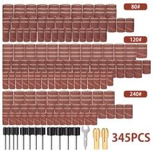 345pcs Sanding Sander Sleeves Kit Sandpaper Rubber 2 Mandrels Fit Dremel Rotary Tools Grinding Polishing 1/2