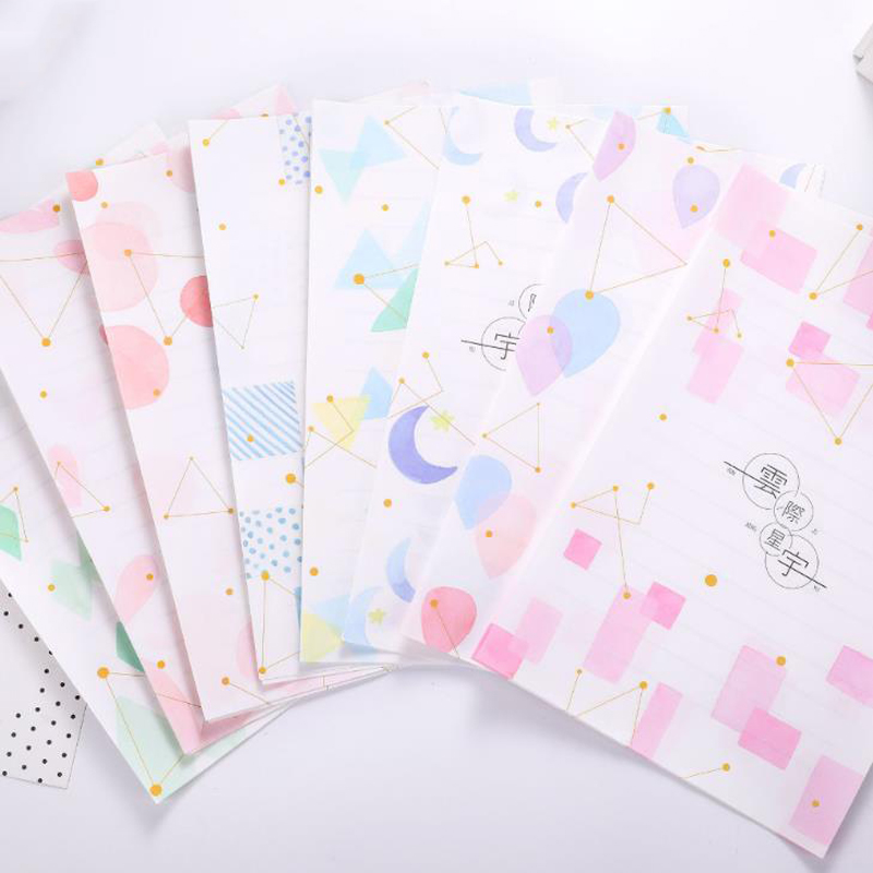9 Pcs/pack Kawaii 3 Envelopes+6 Sheets Letters Starry Sky Moon Geometric Letters Envelopes Set Gift Stationery Supply