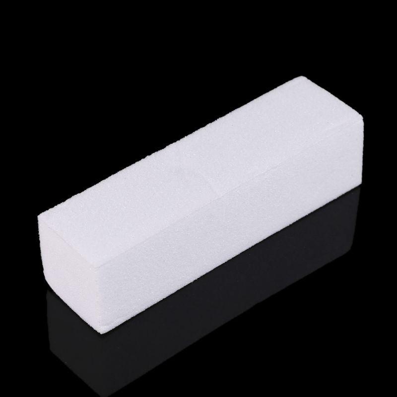 50 pcs lote 1pc prego arte polimento lixa buffer bloco acrilico pedicure manicure branco