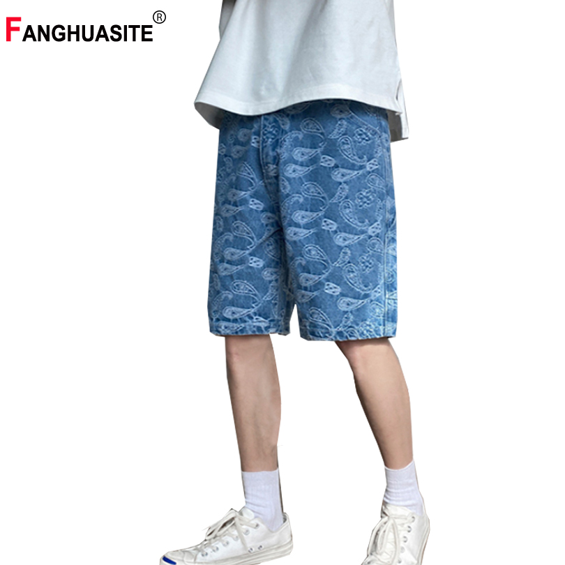 Men's Summer New Jeans High Quality Fashion Embroidery Solid Color Knee Length Pants Street Style Loose Casual Pants Male K069
