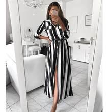 Las mujeres vestido de raso de rayas estilo playa Maxi camisa vestido noche vestido de fiesta Vestidos de manga larga de verano Elegante largo Vestidos