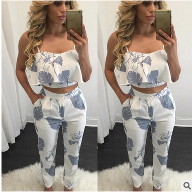 Fashion Women Ladies Stylish Floral Printing V Neck Sleeveless Summer Casual Strap Tube Tops Jumpsuit Rompers Long Pant 2PCS Set