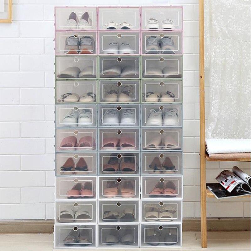 6PCS Transparent Plastic Shoe Box Shoe Storage Artifact Shoe Storage Box Shoe Box Japanese Shoe Box Flip Drawer Type Box
