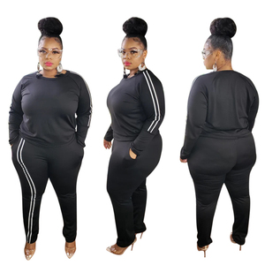 Adogirl XL-5XL размера плюс женский комплект из двух предметов с полосками сбоку, толстовка с длинными рукавами, топ с карманами, штаны, спортивный...