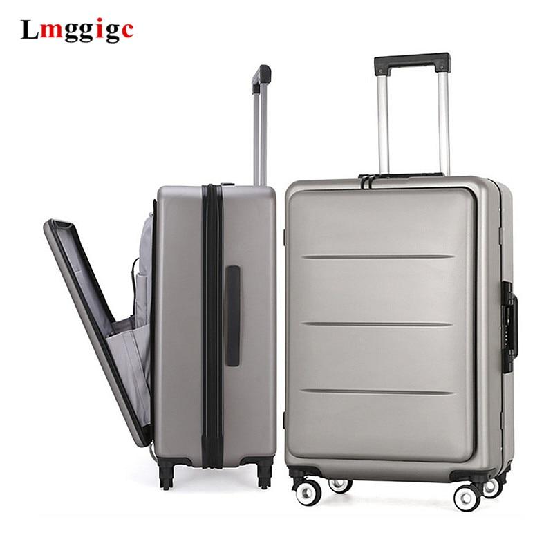 Valise de voyage PC haut de gamme, bagages roulants avec pochette dordinateur, boîte de chariot à roue universelle, paquet de fichiers daffaires pour hommes