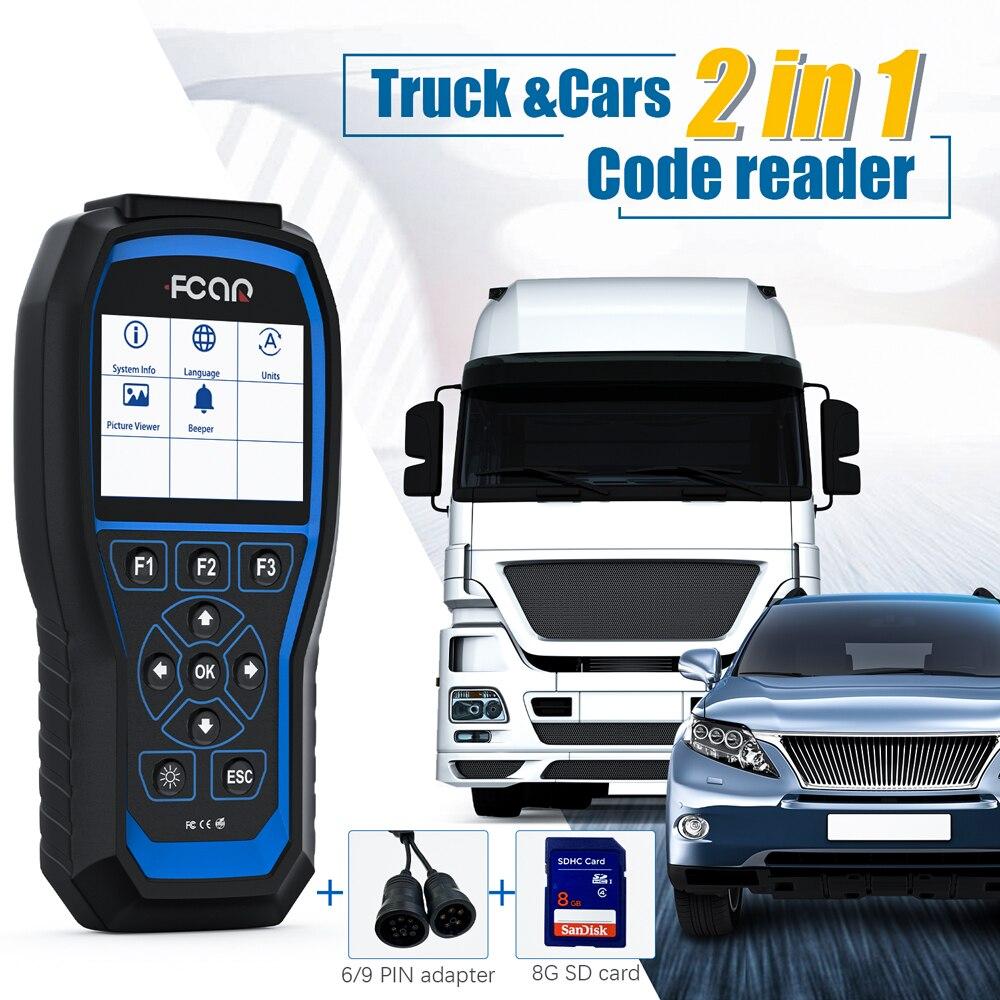 Fcar F506 Pro ciężarówka narzędzie diagnostyczne do samochodów dla Isuzu UD Hino Fuso ciężarówka Pickup autobus koparka Heavy Duty skaner samochodowy OBD2