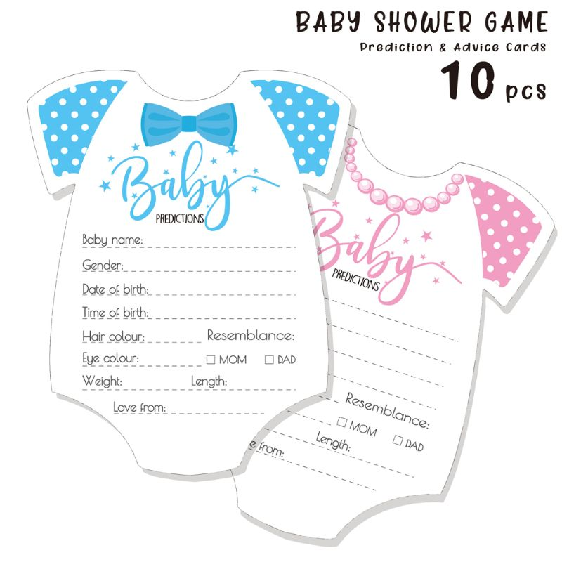 10 Pack Advice and Prediction Cards for Baby Shower Game Gender Neutral Boy Girl image