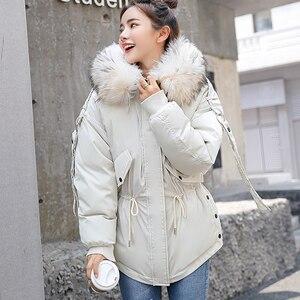 Image 3 - FTLZZ Nữ Mùa Đông Ngắn Áo Mujer Trùm Đầu Parkas Áo Khoác Mùa Đông Aó Khoác Cổ Lông Lót Bông Áo