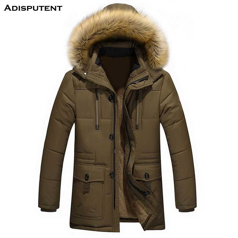 Adisputent  Men Hooded Jacket with Pockets Winter Warm Fur collar Men's Patchwork Thick Outwear Male Coats abrigo hombre 2019