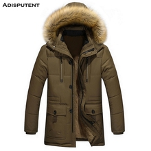 Adisputent Men Hooded Jacket with Pockets Winter Warm Fur co