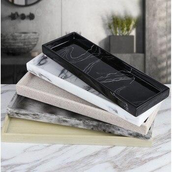 Nordic Imitation Marble Resin Tray Bathroom Storage Tray Rectangular Jewelry Storage Tray Kithen Tray Dish Dispenser Luxury Tiss