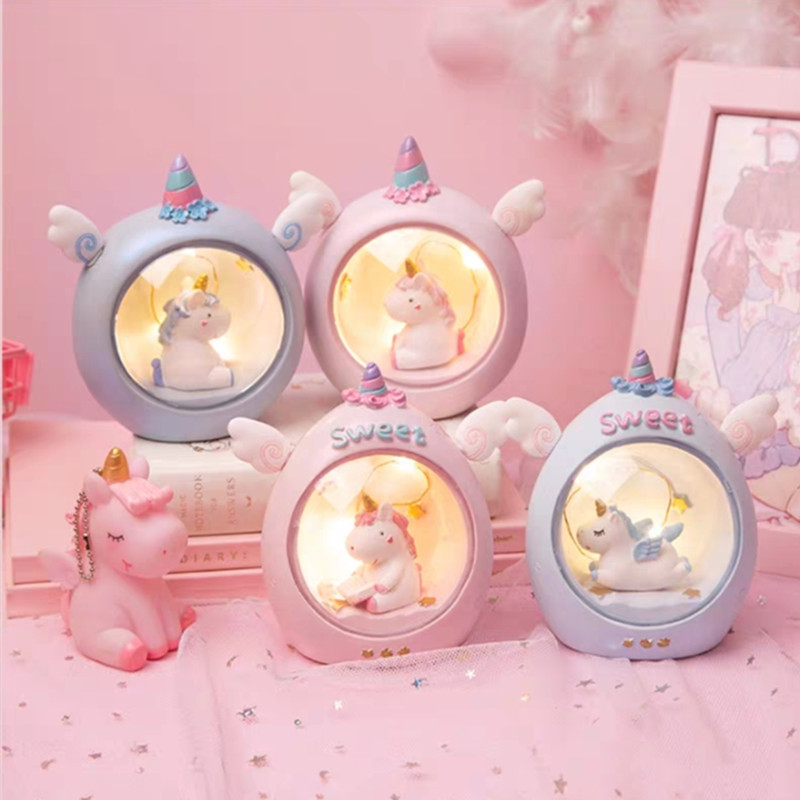 LED Cartoon Unicorn Night Light Baby Nursery Lamps Battery Powered Decor LED Desk Lamp Children Gift Starry Angel Table Lighting