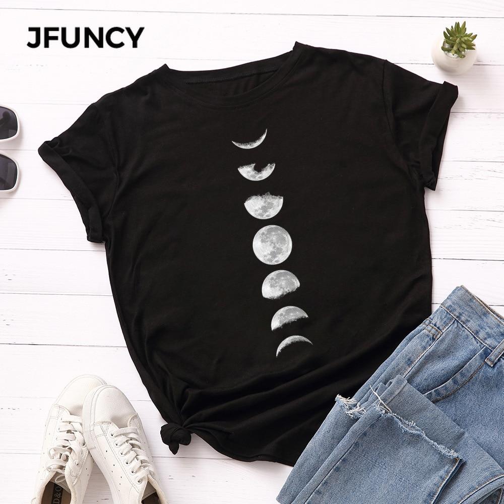 JFUNCY Plus Size Tshirt S-5XL New Moon Print T Shirt Women 100% Cotton O Neck Short Sleeve T-Shirt Tops Summer Casual Shirts 4