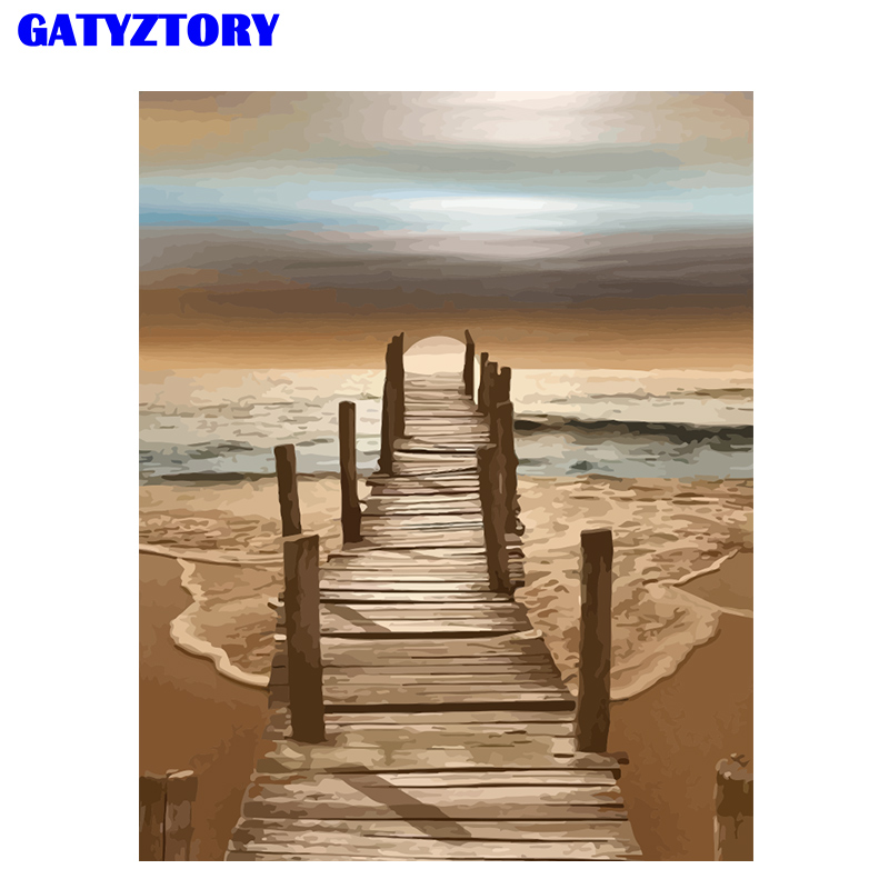 GATYZTORY 60x75cm Frame Beach DIY Painting By Numbers Kit Acrylic Paint By Numbers Seascape Modern Wall Art Picture By Numbers