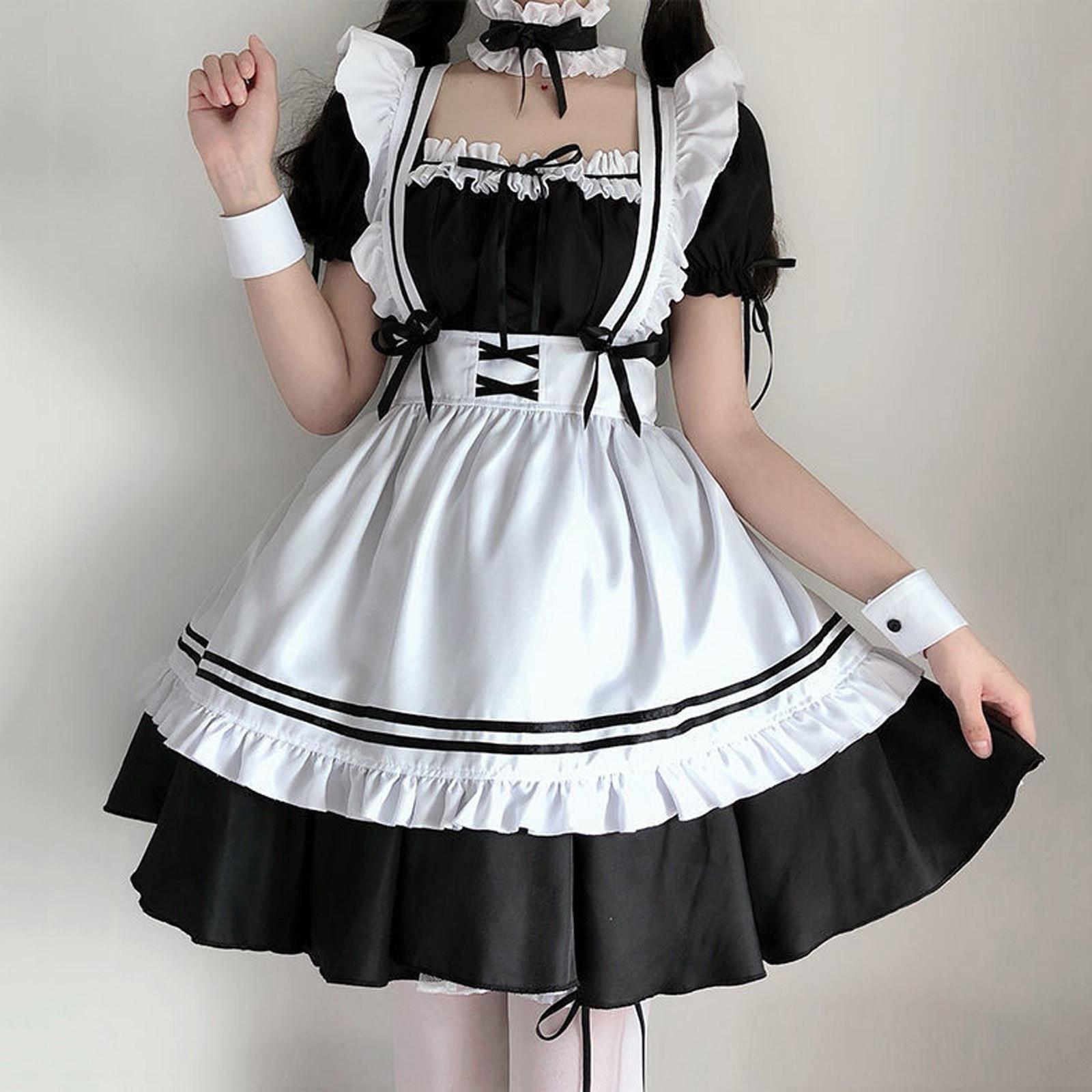 Słodka sukienka Lolita francuska pokojówka kelner kostium kobiety Sexy Mini fartuszek śliczny strój Halloween Cosplay dla dziewczyn Plus rozmiar S-2XL