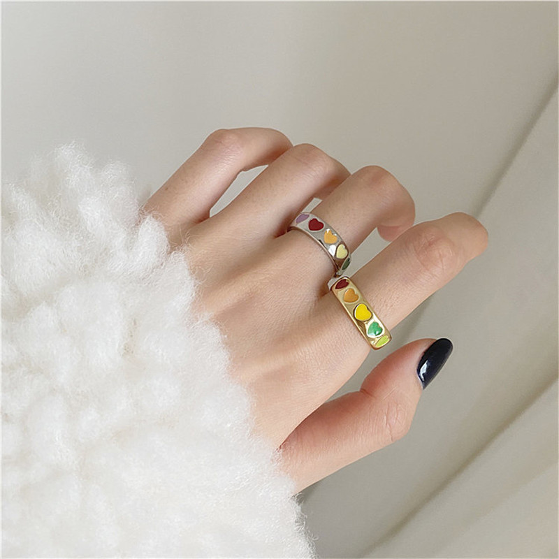 Vintage Gothic Colorful Enamel Love Heart Ring Cute Simple Metal Gold Silver Color Rings for Women Punk Rock Jewelry