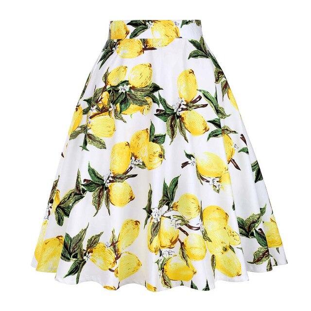Kobiety Lemon spódnice żółty nadruk z cytryną wysokiej talii 50s 60s Swing Rockabilly plisowane spódnice Midi kobieta w stylu Casual, letnia spódnica 2019