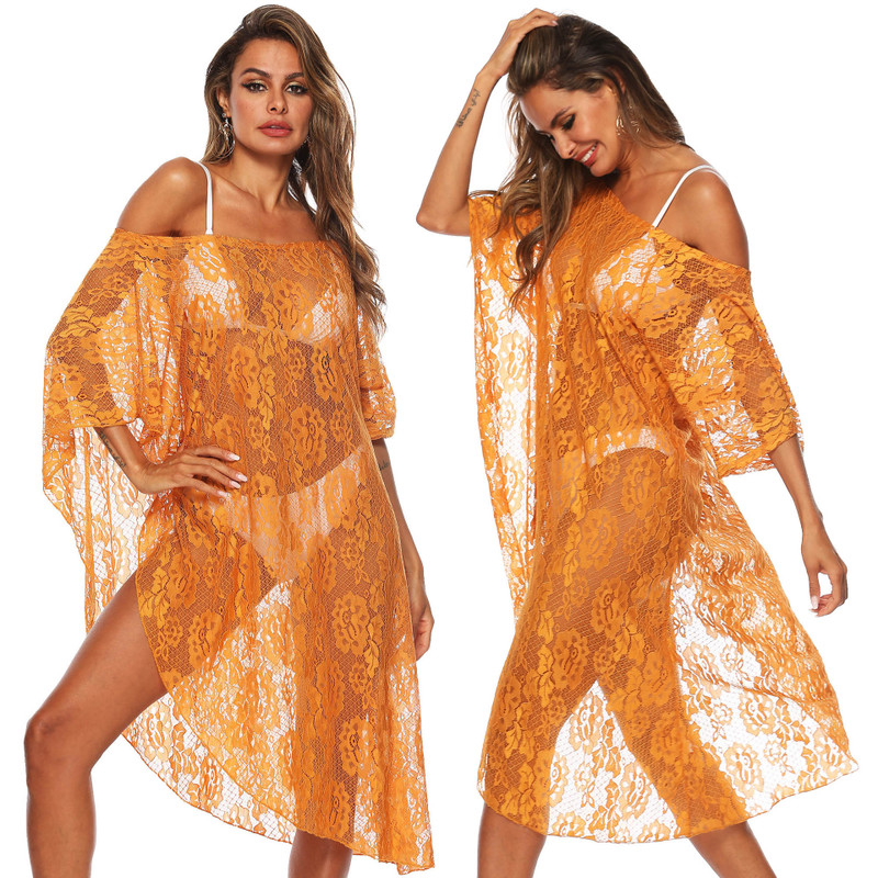Beach Robe Swim Cover Up Dress Women's Clothing For The Sexy Lace Diagonal Shoulder Bikini Floral Spandex Sierra Surfer Saida De