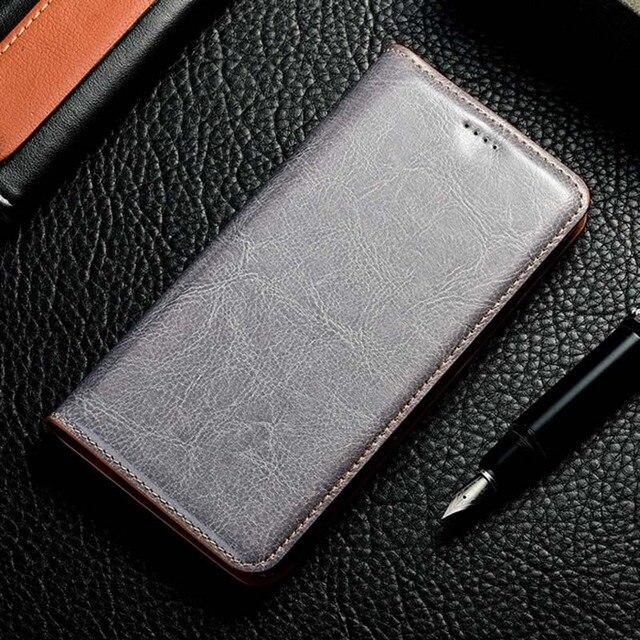 Magnete Naturale Della Pelle del cuoio Genuino di Vibrazione Del Raccoglitore Libro Copertura Della Cassa Del Telefono Per Samsung Galaxy A20 A30 A50 S 2019 UN 30 50 32/64 GB