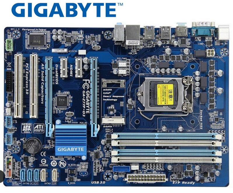 Motherboard Gigabyte GA-Z77P-D3 LGA 1155 DDR3 Z77P-D3 Boards HDMI USB2.0 USB3.0 32GB Z77 Used Desktop Motherboard