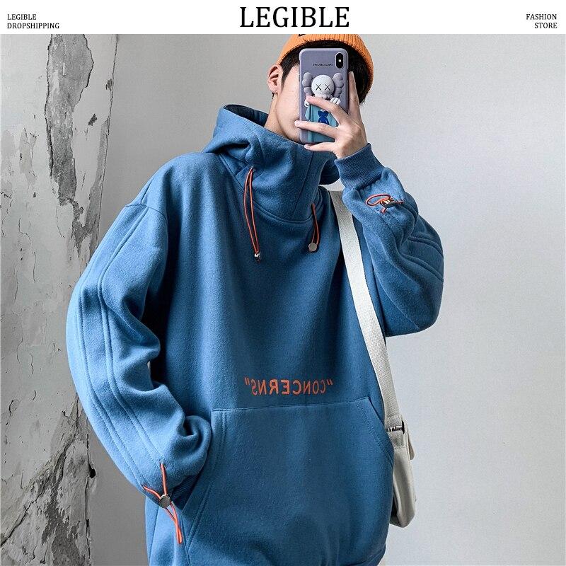 LEGIBLE Hip Hop Hooded Hoodies Sweatshirts Men Streetwear Solid Pullover Sweatshirt Hoodies Men New 2019 Autumn Sweatshirt Men