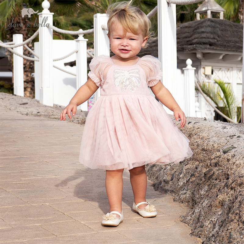 DB13147 dave bella summer baby girl's princess cartoon mesh dress children fashion party dress kids infant lolita clothes